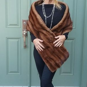 "Vintage Luxury Brown Mink Fur Stole 77"" long"